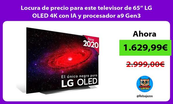 """Locura de precio para este televisor de 65"""" LG OLED 4K con IA y procesador a9 Gen3"""