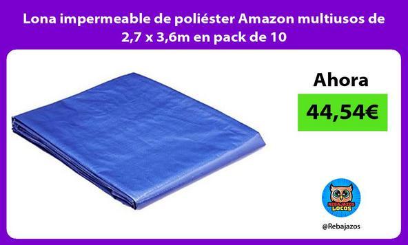 Lona impermeable de poliéster Amazon multiusos de 2,7 x 3,6m en pack de 10