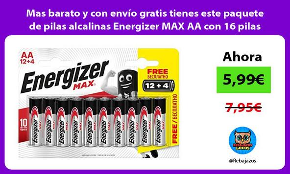 Mas barato y con envío gratis tienes este paquete de pilas alcalinas Energizer MAX AA con 16 pilas