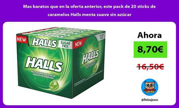 Mas baratos que en la oferta anterior, este pack de 20 sticks de caramelos Halls menta suave sin azúcar