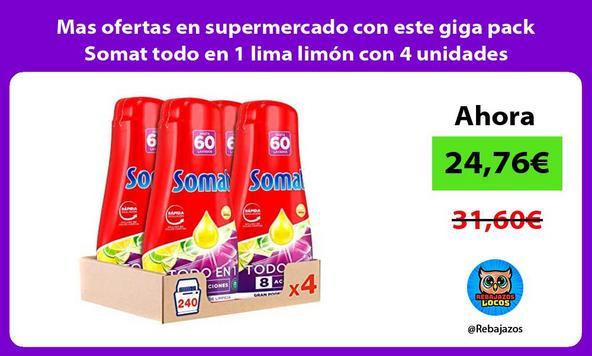 Mas ofertas en supermercado con este giga pack Somat todo en 1 lima limón con 4 unidades