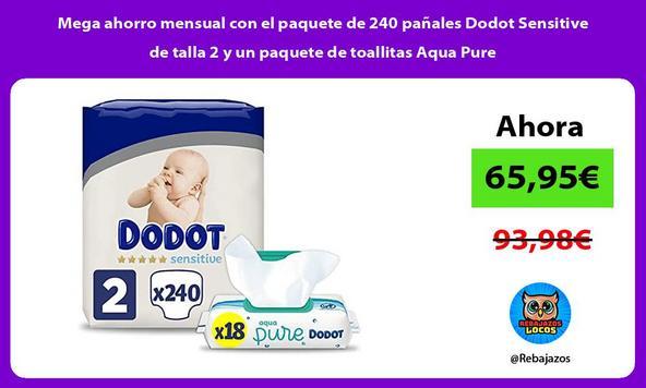Mega ahorro mensual con el paquete de 240 pañales Dodot Sensitive de talla 2 y un paquete de toallitas Aqua Pure
