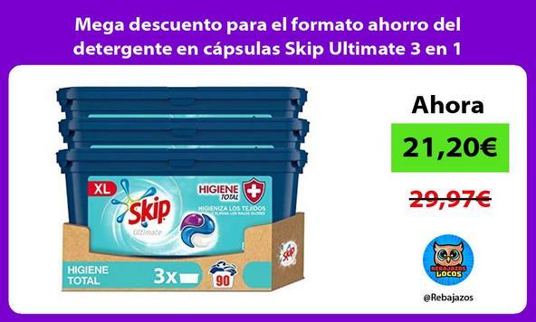 Mega descuento para el formato ahorro del detergente en cápsulas Skip Ultimate 3 en 1 higiene