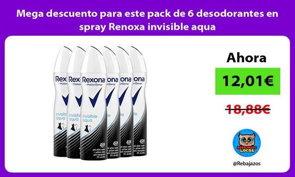 Mega descuento para este pack de 6 desodorantes en spray Renoxa invisible aqua
