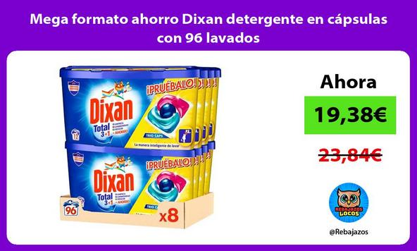 Mega formato ahorro Dixan detergente en cápsulas con 96 lavados