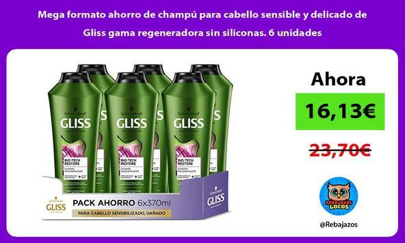 Mega formato ahorro de champú para cabello sensible y delicado de Gliss gama regeneradora sin siliconas. 6 unidades