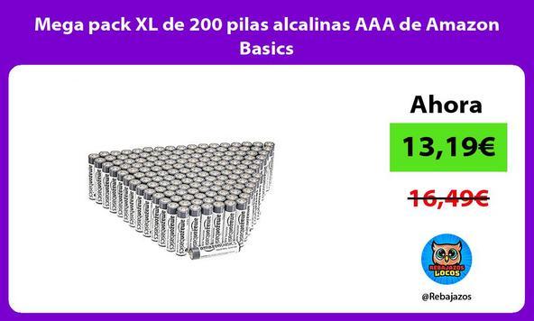 Mega pack XL de 200 pilas alcalinas AAA de Amazon Basics