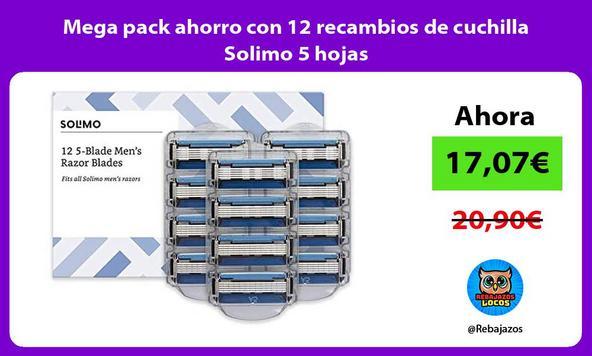 Mega pack ahorro con 12 recambios de cuchilla Solimo 5 hojas