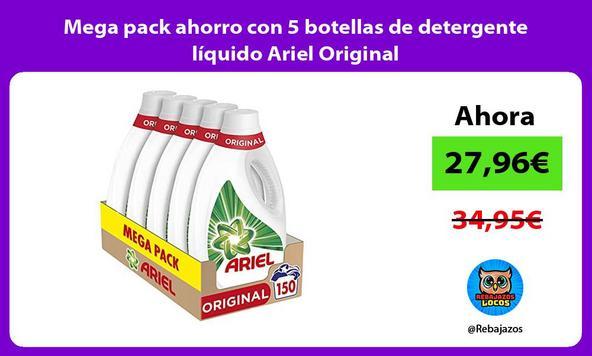 Mega pack ahorro con 5 botellas de detergente líquido Ariel Original