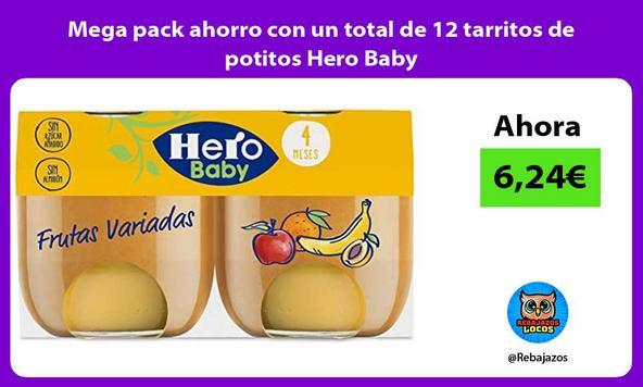 Mega pack ahorro con un total de 12 tarritos de potitos Hero Baby