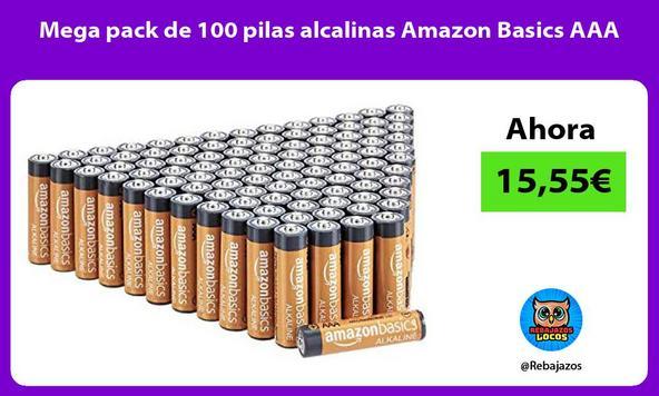 Mega pack de 100 pilas alcalinas Amazon Basics AAA