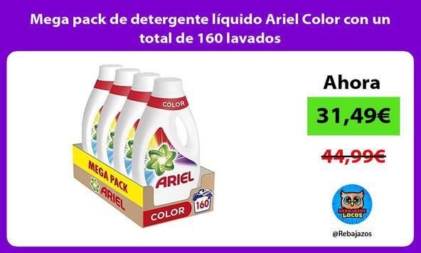 Mega pack de detergente líquido Ariel Color con un total de 160 lavados