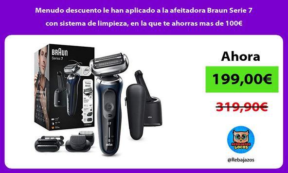 Menudo descuento le han aplicado a la afeitadora Braun Serie 7 con sistema de limpieza, en la que te ahorras mas de 100€