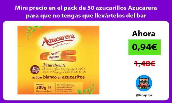 Mini precio en el pack de 50 azucarillos Azucarera para que no tengas que llevártelos del bar