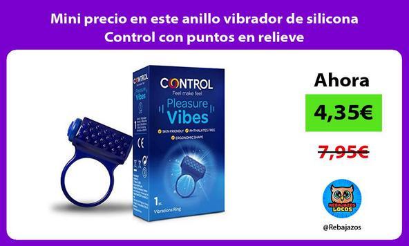 Mini precio en este anillo vibrador de silicona Control con puntos en relieve