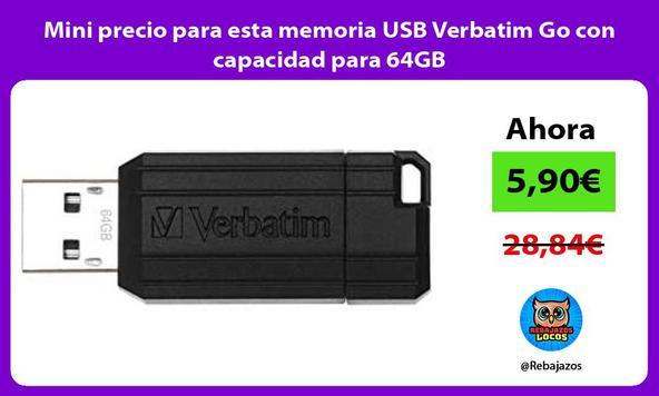 Mini precio para esta memoria USB Verbatim Go con capacidad para 64GB