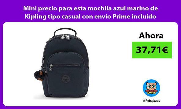 Mini precio para esta mochila azul marino de Kipling tipo casual con envío Prime incluido