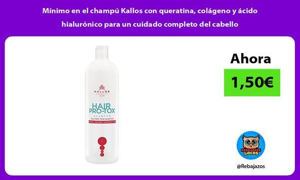 Mínimo en el champú Kallos con queratina, colágeno y ácido hialurónico para un cuidado completo del cabello
