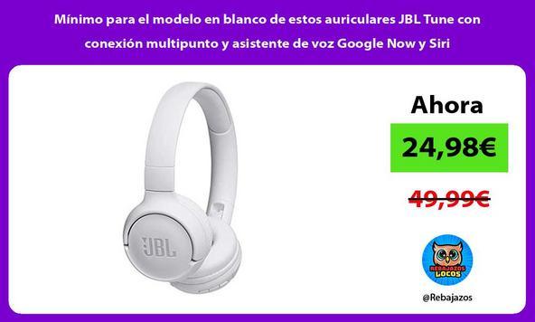 Mínimo para el modelo en blanco de estos auriculares JBL Tune con conexión multipunto y asistente de voz Google Now y Siri