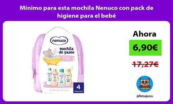 Mínimo para esta mochila Nenuco con pack de higiene para el bebé