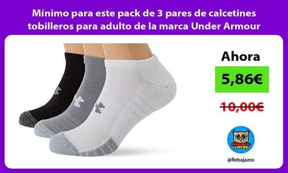Mínimo para este pack de 3 pares de calcetines tobilleros para adulto de la marca Under Armour
