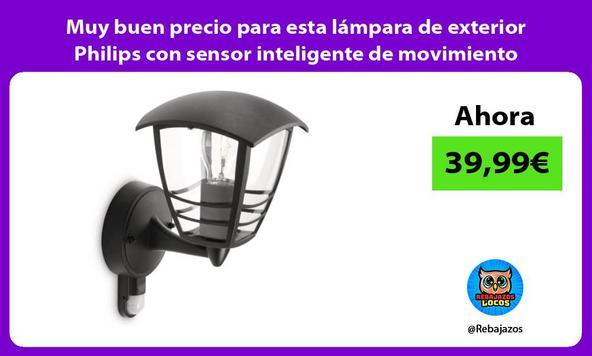Muy buen precio para esta lámpara de exterior Philips con sensor inteligente de movimiento