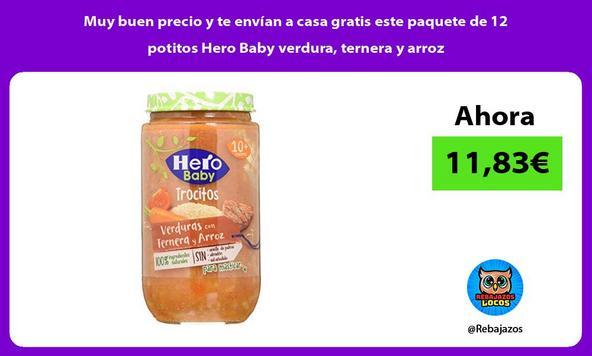 Muy buen precio y te envían a casa gratis este paquete de 12 potitos Hero Baby verdura, ternera y arroz