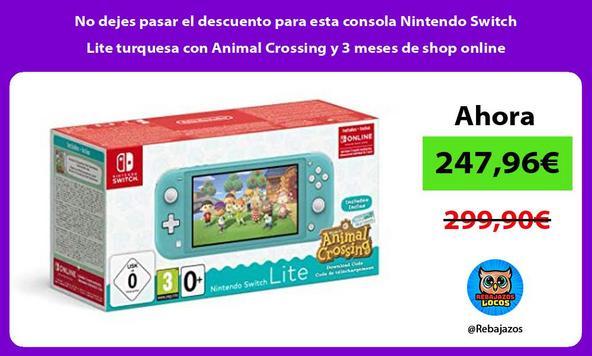 No dejes pasar el descuento para esta consola Nintendo Switch Lite turquesa con Animal Crossing y 3 meses de shop online