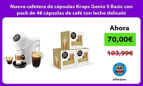 Nueva cafetera de cápsulas Krups Genio S Basic con pack de 48 cápsulas de café con leche delicato