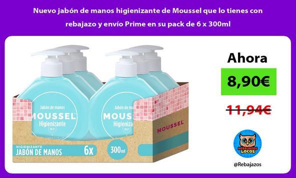 Nuevo jabón de manos higienizante de Moussel que lo tienes con rebajazo y envío Prime en su pack de 6 x 300ml