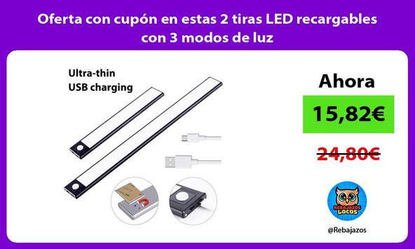 Oferta con cupón en estas 2 tiras LED recargables con 3 modos de luz