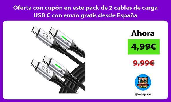Oferta con cupón en este pack de 2 cables de carga USB C con envío gratis desde España