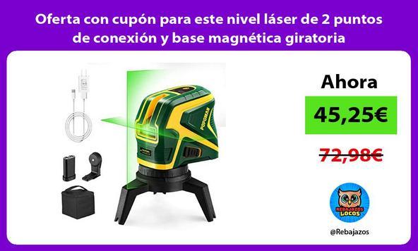 Oferta con cupón para este nivel láser de 2 puntos de conexión y base magnética giratoria