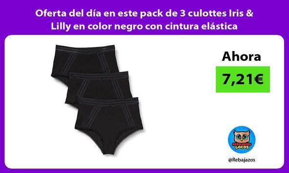 Oferta del día en este pack de 3 culottes Iris & Lilly en color negro con cintura elástica