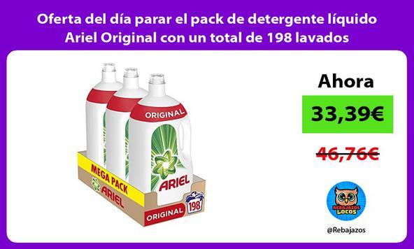 Oferta del día parar el pack de detergente líquido Ariel Original con un total de 198 lavados