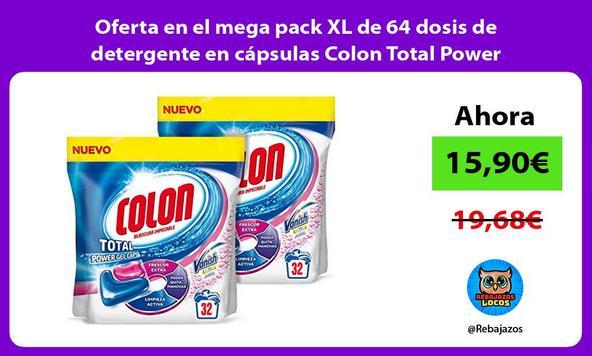 Oferta en el mega pack XL de 64 dosis de detergente en cápsulas Colon Total Power