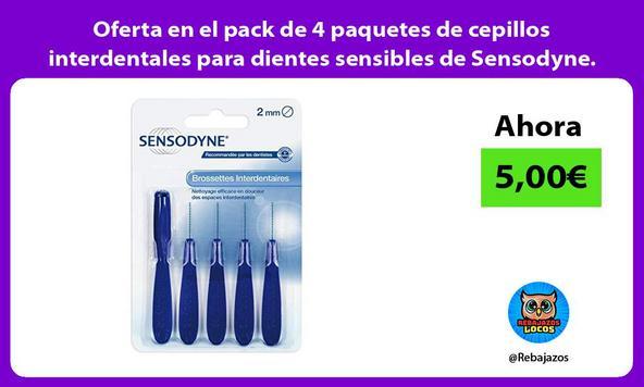 Oferta en el pack de 4 paquetes de cepillos interdentales para dientes sensibles de Sensodyne.