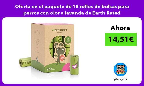 Oferta en el paquete de 18 rollos de bolsas para perros con olor a lavanda de Earth Rated