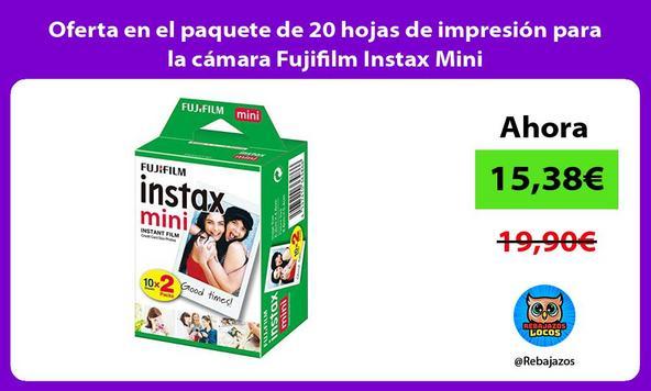 Oferta en el paquete de 20 hojas de impresión para la cámara Fujifilm Instax Mini