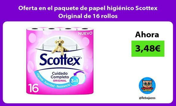 Oferta en el paquete de papel higiénico Scottex Original de 16 rollos