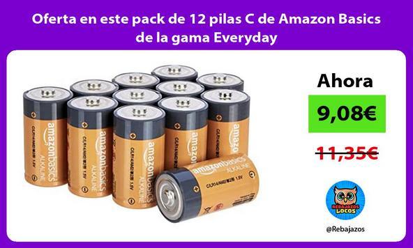 Oferta en este pack de 12 pilas C de Amazon Basics de la gama Everyday