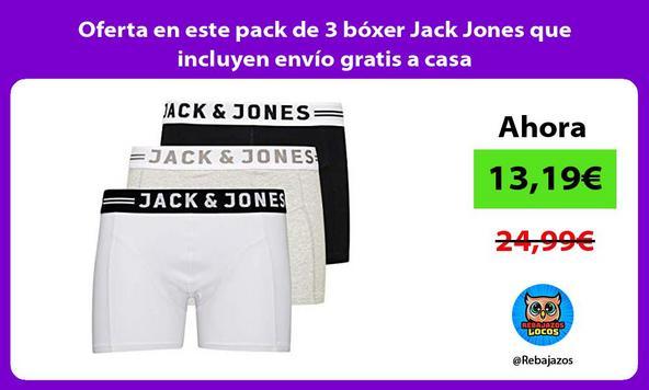 Oferta en este pack de 3 bóxer Jack Jones que incluyen envío gratis a casa