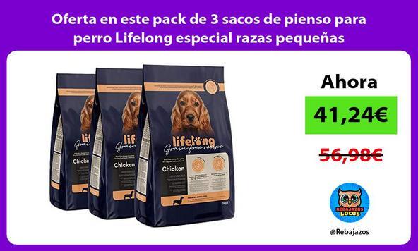 Oferta en este pack de 3 sacos de pienso para perro Lifelong especial razas pequeñas