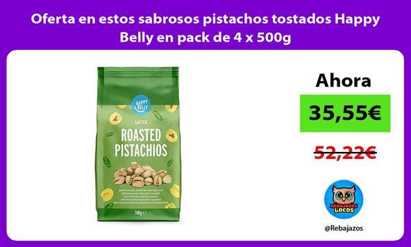 Oferta en estos sabrosos pistachos tostados Happy Belly en pack de 4 x 500g