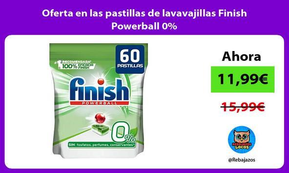 Oferta en las pastillas de lavavajillas Finish Powerball 0%