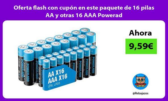 Oferta flash con cupón en este paquete de 16 pilas AA y otras 16 AAA Powerad