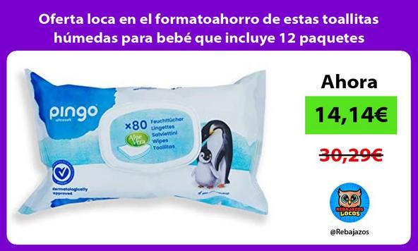 Oferta loca en el formatoahorro de estas toallitas húmedas para bebé que incluye 12 paquetes