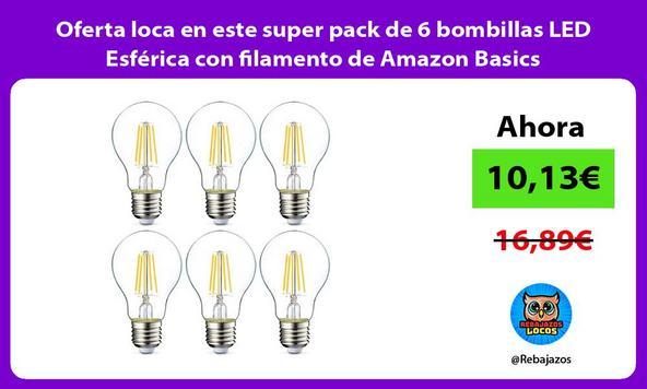 Oferta loca en este super pack de 6 bombillas LED Esférica con filamento de Amazon Basics