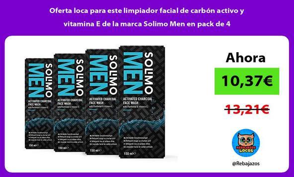 Oferta loca para este limpiador facial de carbón activo y vitamina E de la marca Solimo Men en pack de 4