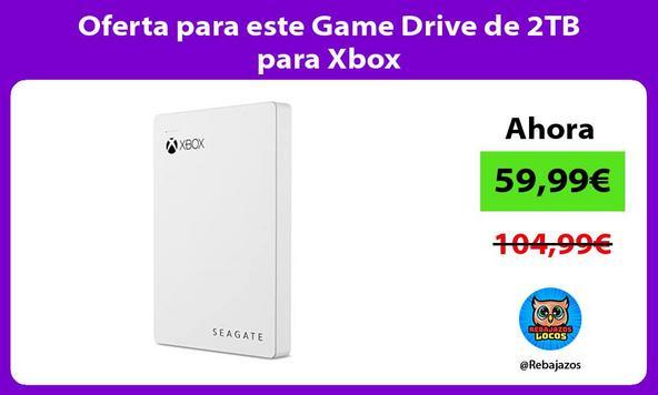 Oferta para este Game Drive de 2TB para Xbox